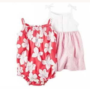 CARTER'S Romper Dress 12m Pink White Floral 2pc